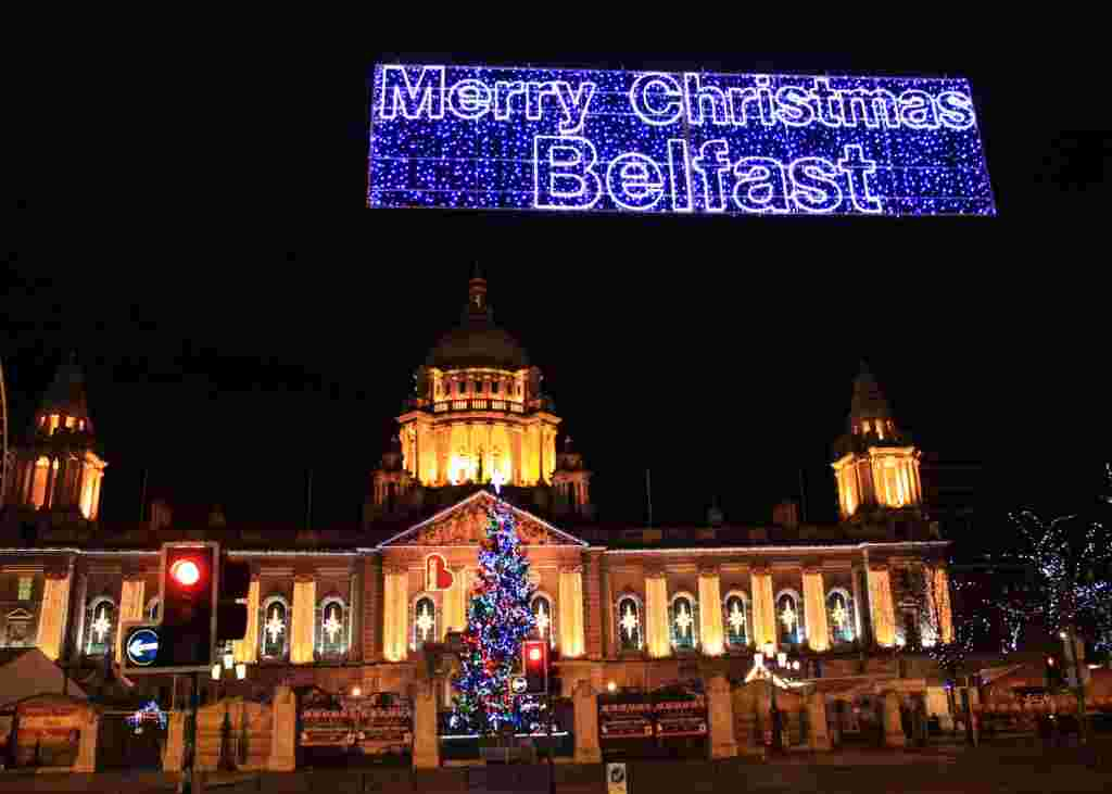 Belfast City Hall all lit up for Xmas