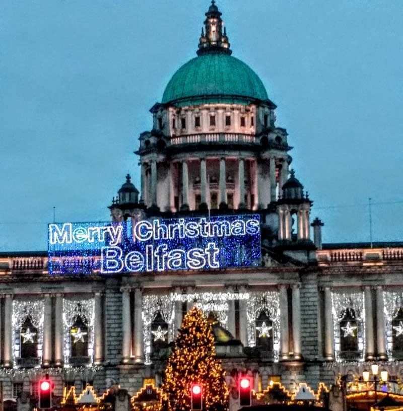 Merry Christmas at Belfast City Hall celebrating Christmas in Ireland