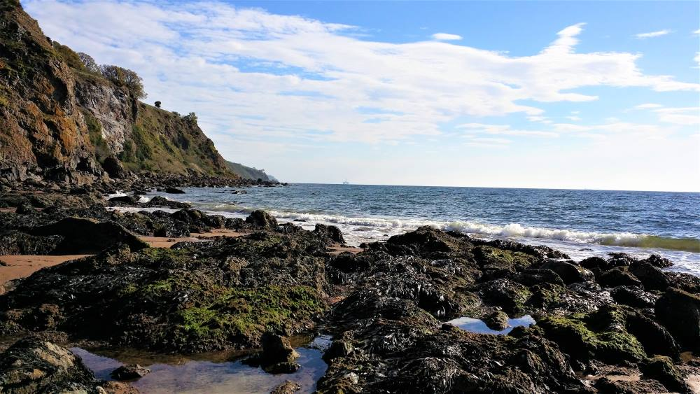 Moray Firth beach and views across the waters of the Black Isle Scotland