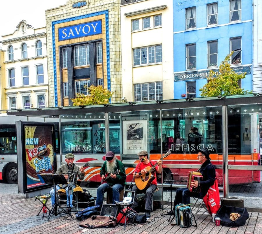 getting creative in Ireland busking in Cork on the main street