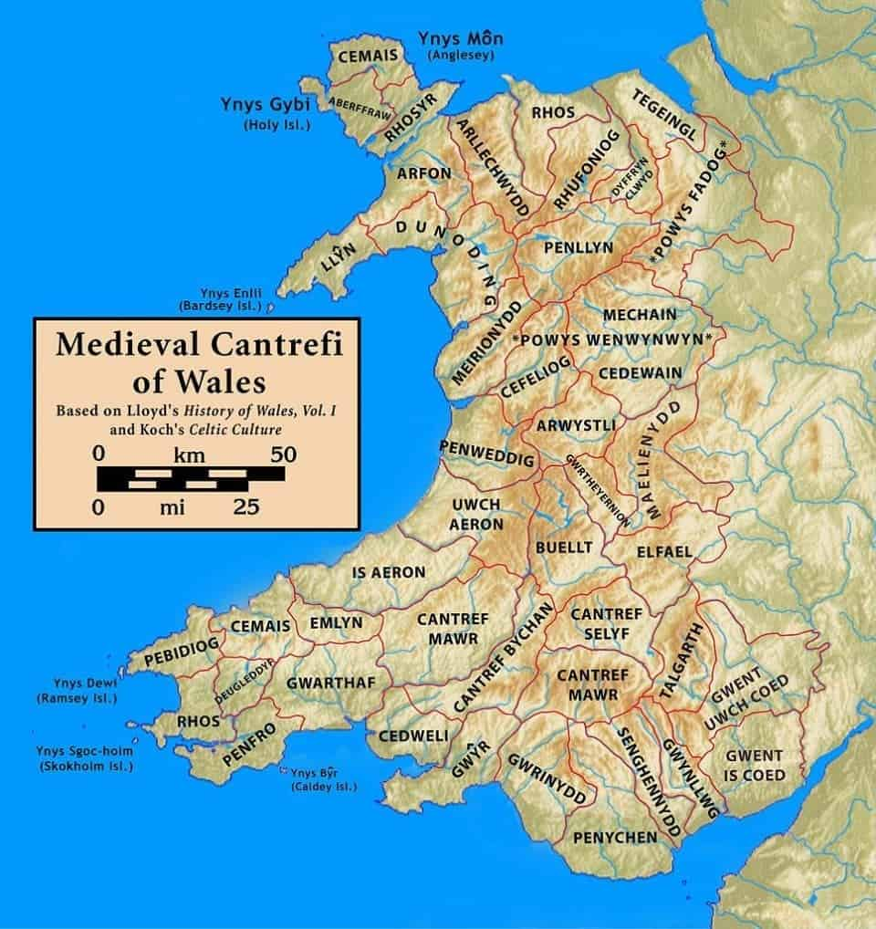 Map of the North Wales coastal path from the middle ages