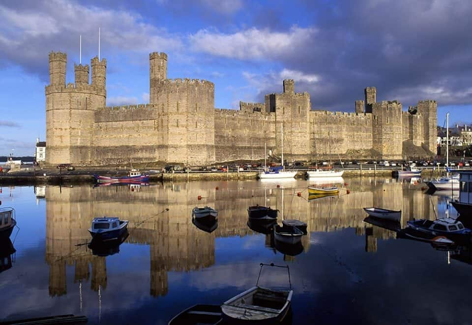 Caenarfon Castle in Wales on the North Wales Coastal path