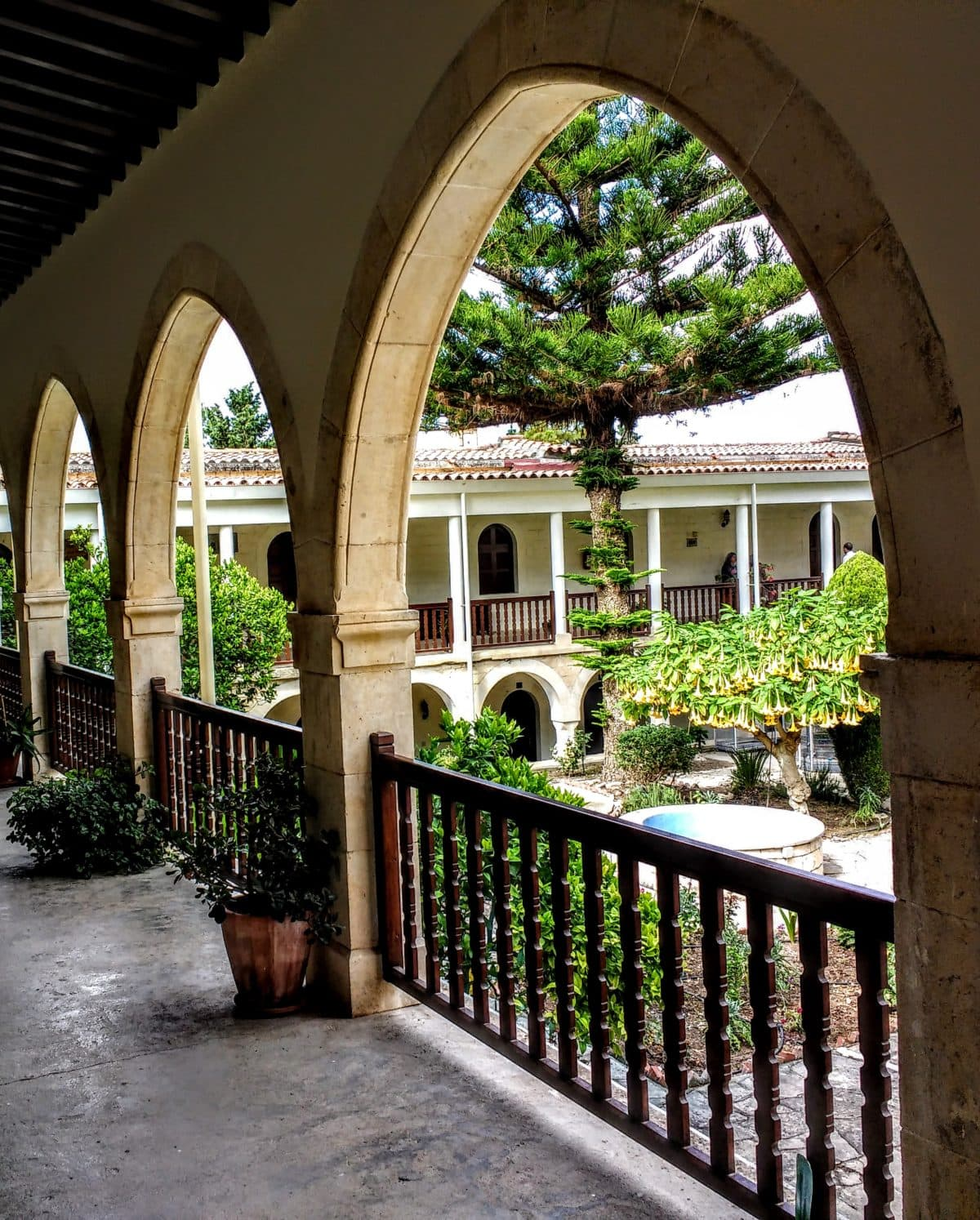 view of monastery courtyard sacred spaces Cyprus Agios Neophytos Monastery Cyprus