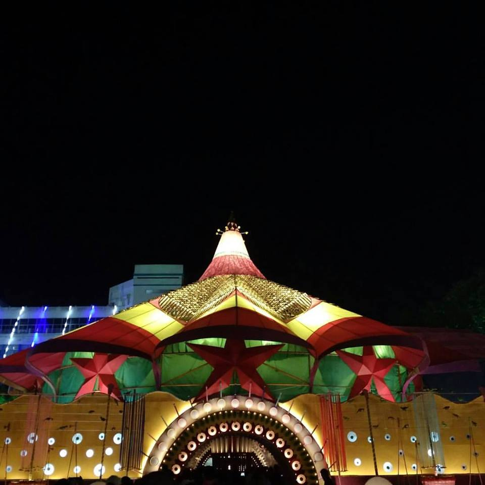A temple all lit up for Diwali Winter Celebrations