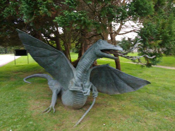 dragon sculpture in the gardens of Lough Eske Castle hotel