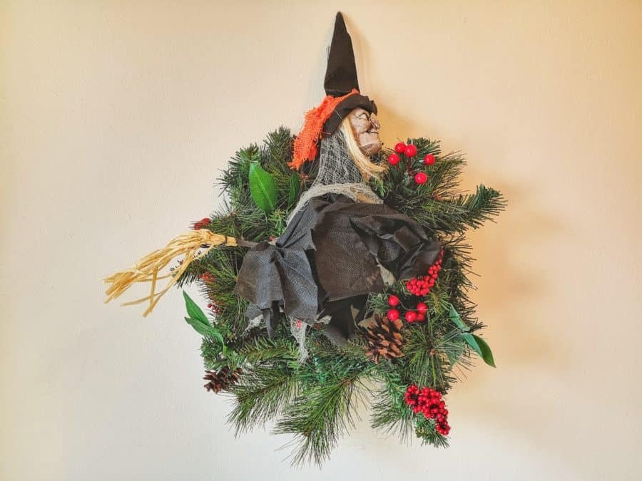 La Befana the witch wreath celebrating the season of light
