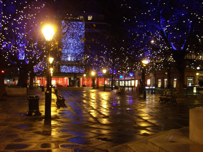 A decorated Sloane Square at Christmas time in London