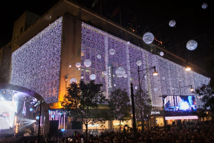 Christmas lights in London decorate the front of the John Lewis Store on Oxford Street