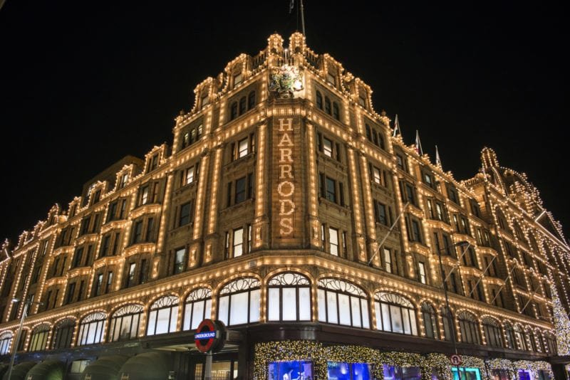 Spending Christmas in London shopping at Harrods