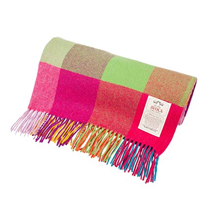 a soft Avoca throw in pink and green my Irish gift guide