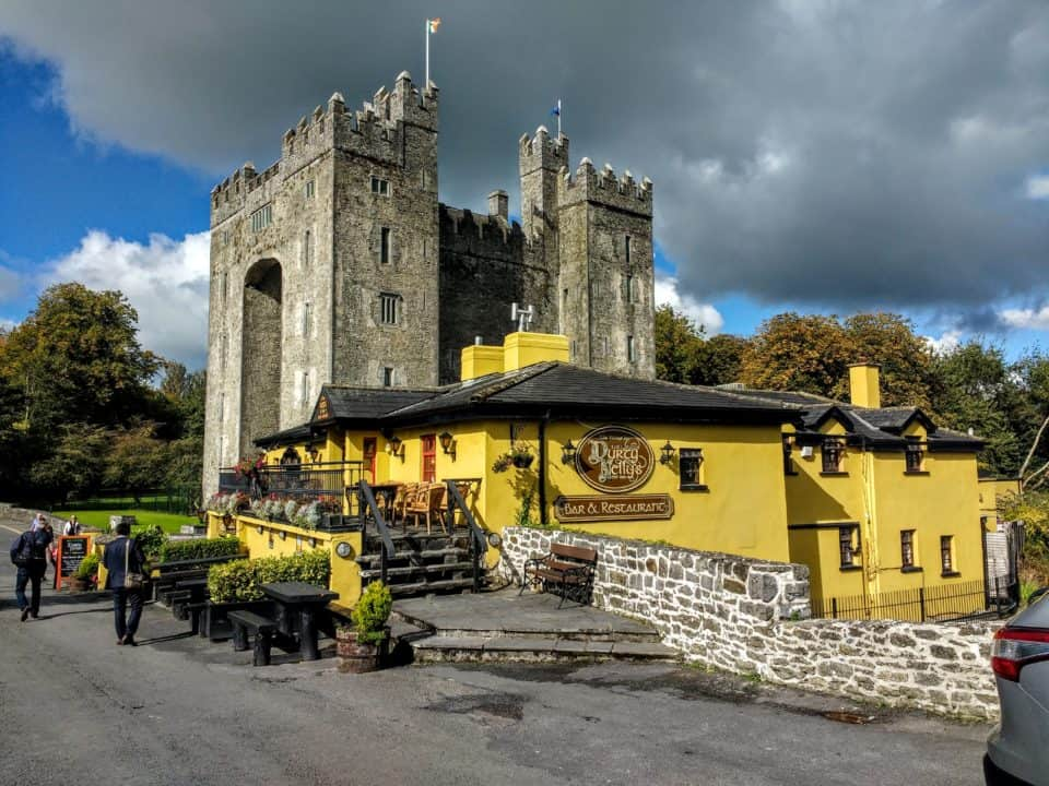 Bunratty Castle and Bunratty Folk park a view of 'Durty Nellys pub