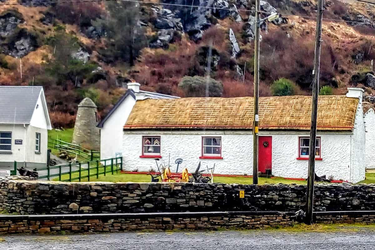 a view of the cottages of the Glencolmcille Folk Village