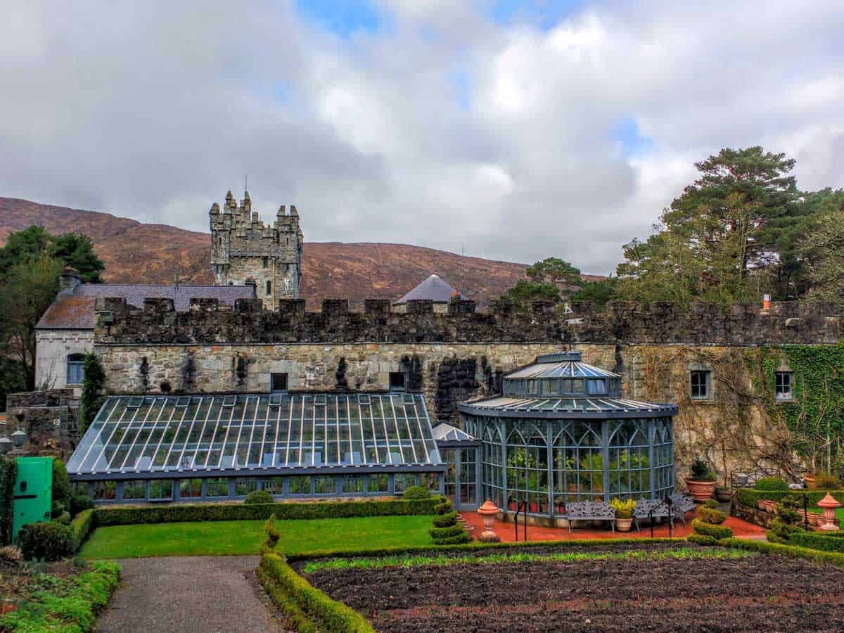 a view of the back of the castle and the conservatory of Glenveagh Castle