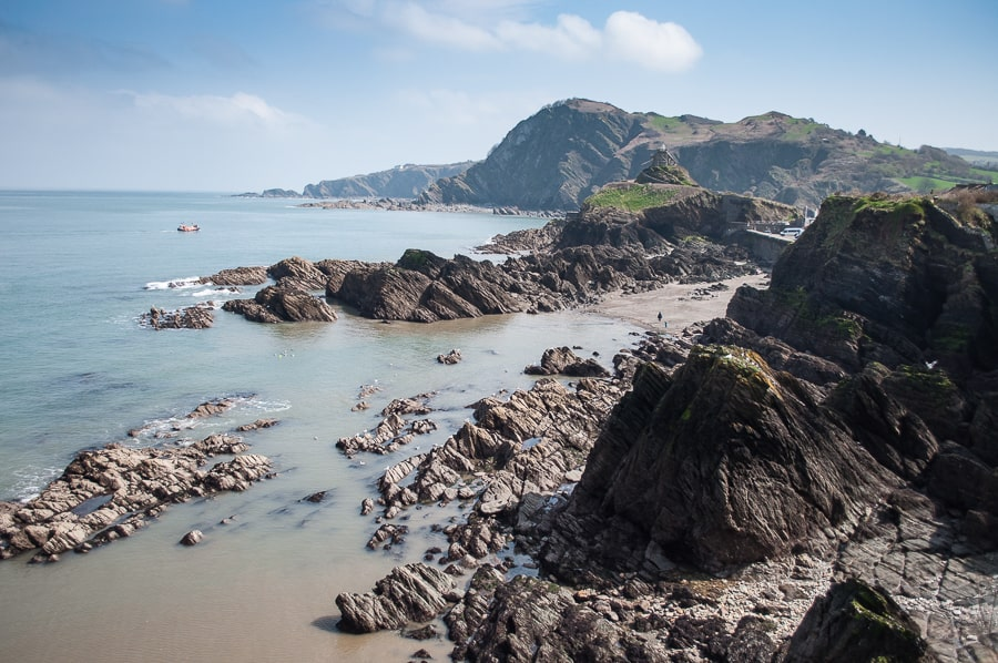 a rocky beach in Ilfracombe a British seaside holiday