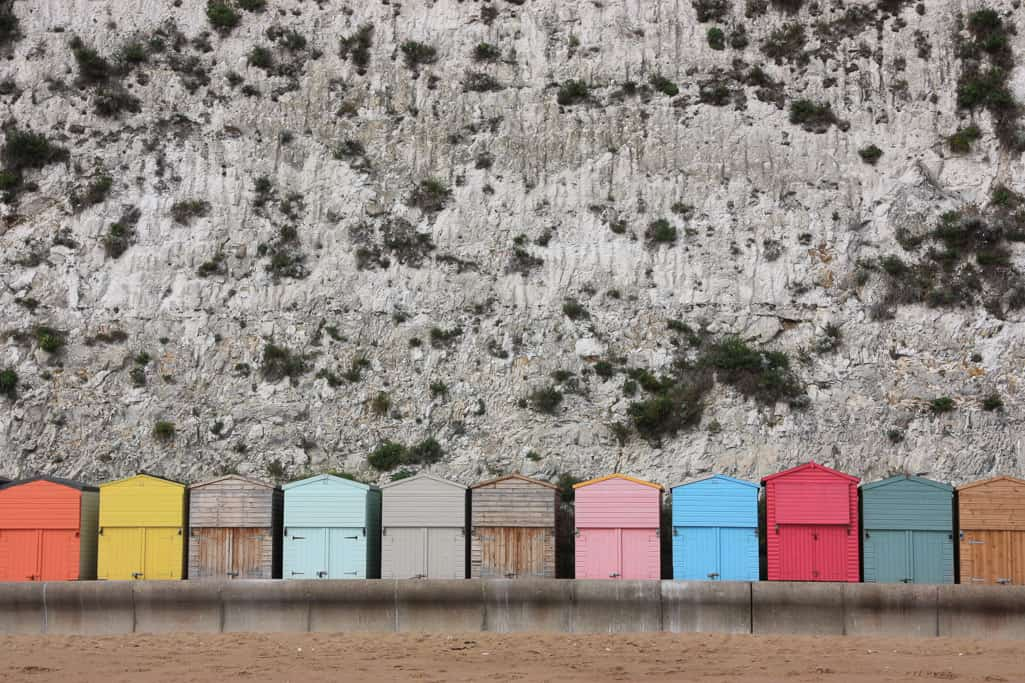 beach huts on a british holiday in Broadstairs, Kent