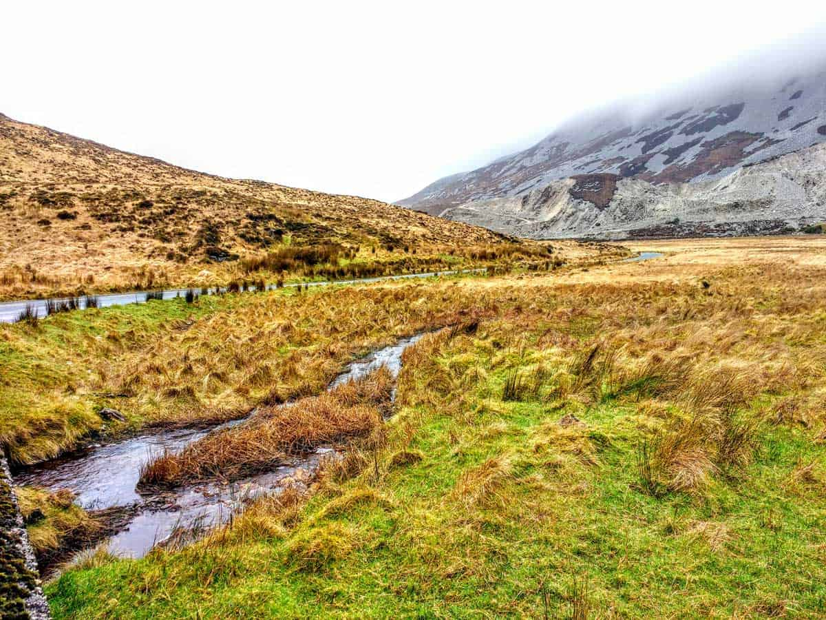 a view of the bogs and the mountains in the distance in Glenveagh National Park Ireland