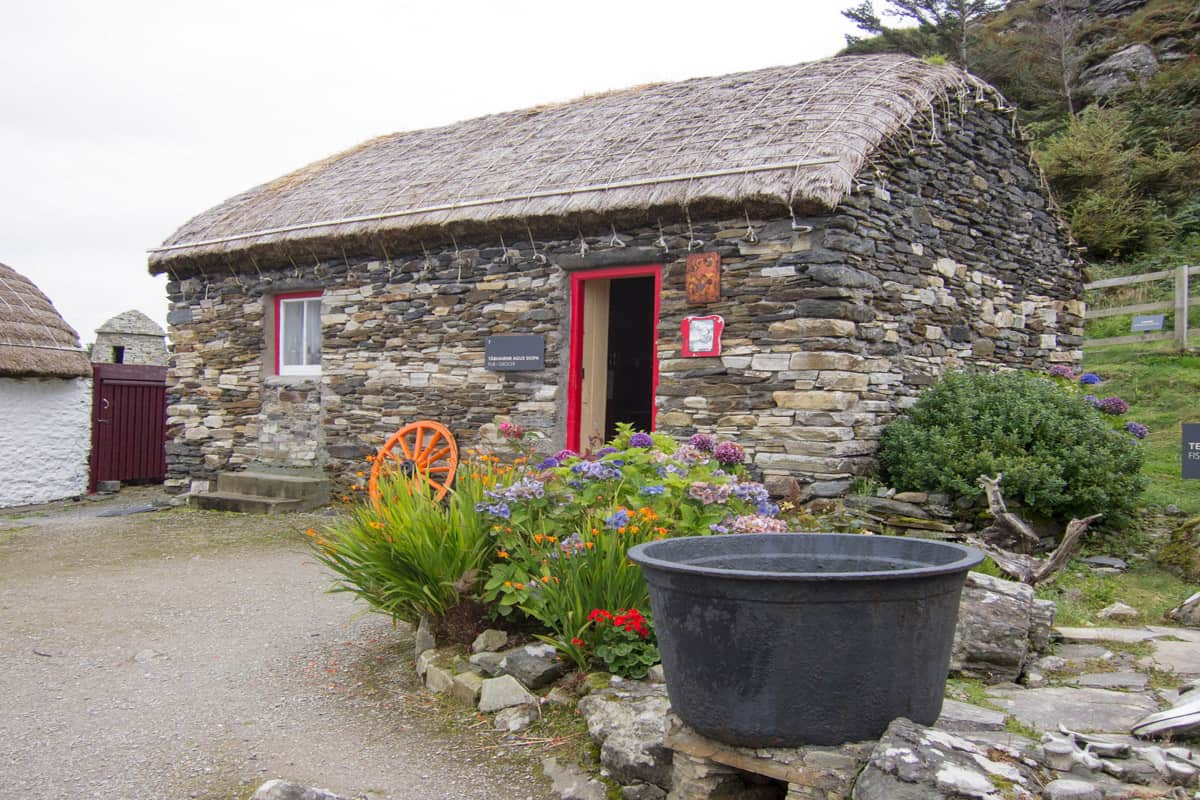 a small stone cottage in the folk village of Glencolmcille