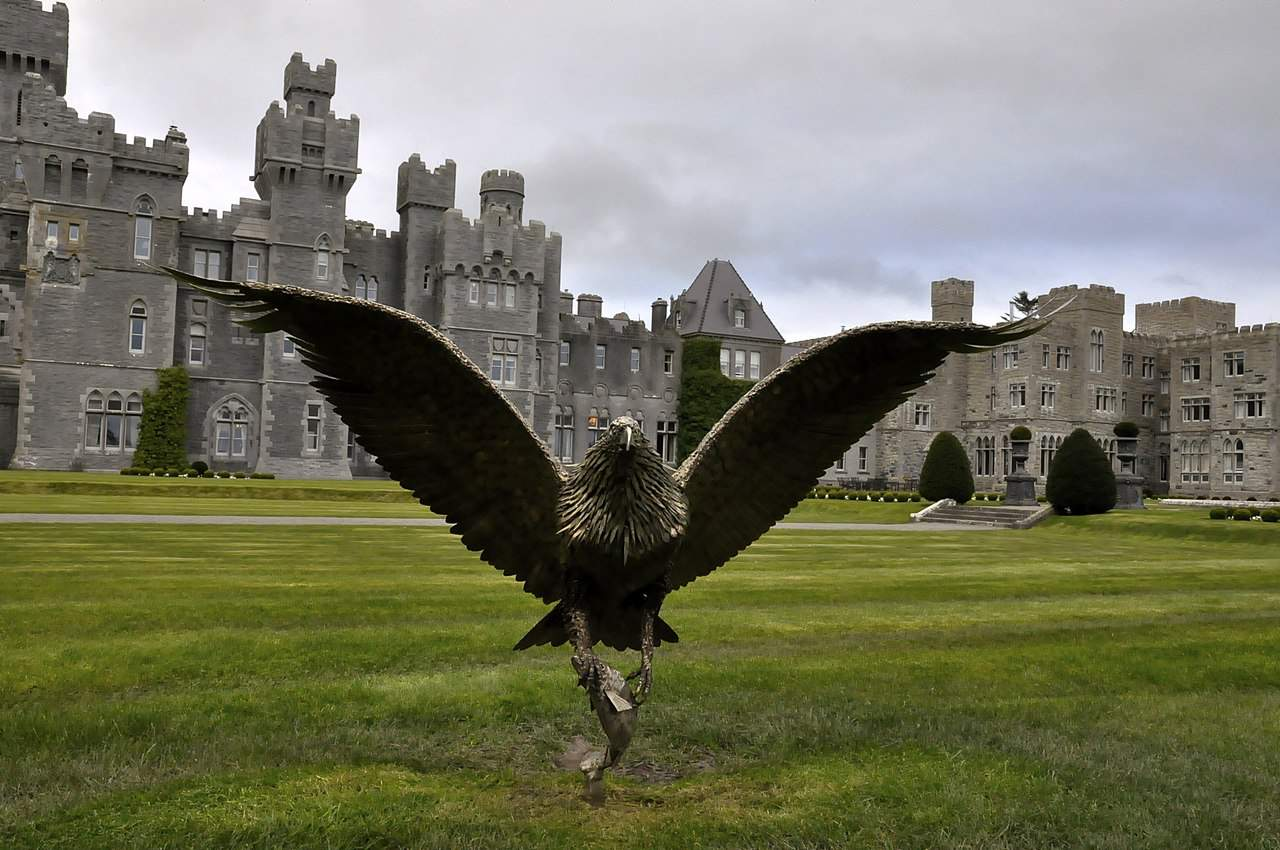 bronze eagle on the lawns of Ashford Castle