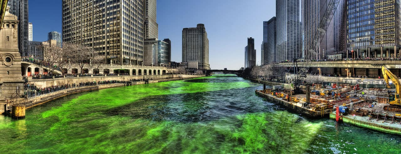 celebrating St. Patrick's Day Dublin the green Irish river in Chicago