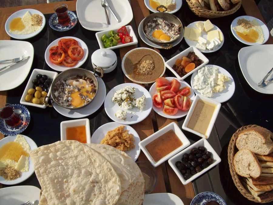 Kahvalti only the best Turkish food breakfast a lot of tiny dishes of things like tomatoes, peppers, flat breads, cheese, eggs, olives a veritable feast