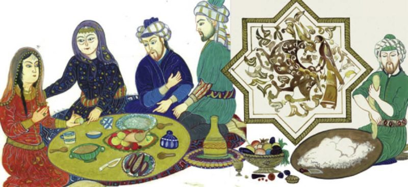 an old engraving of a family sitting around a small short round table enjoying Turkish Food