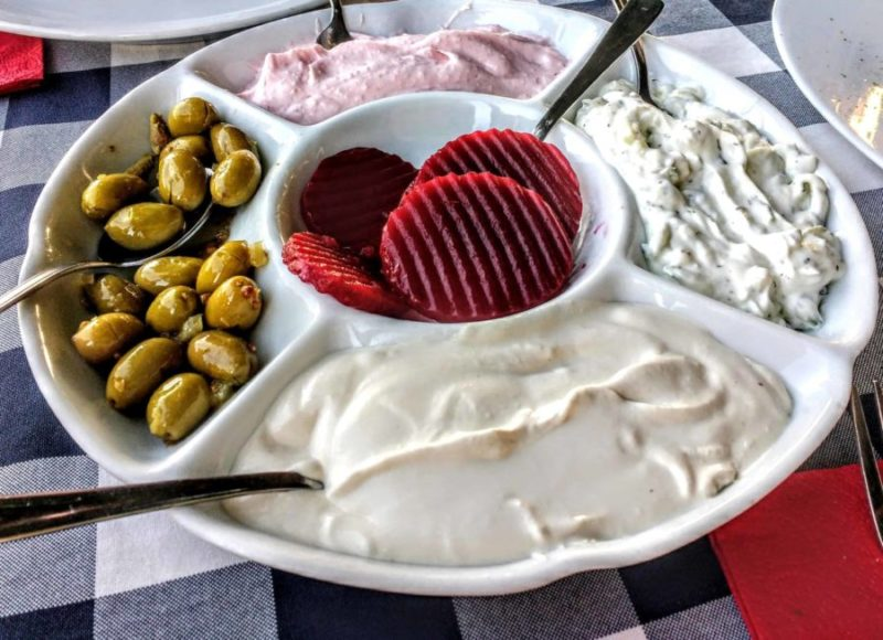 various mezes that would be served during a Turkish dinner