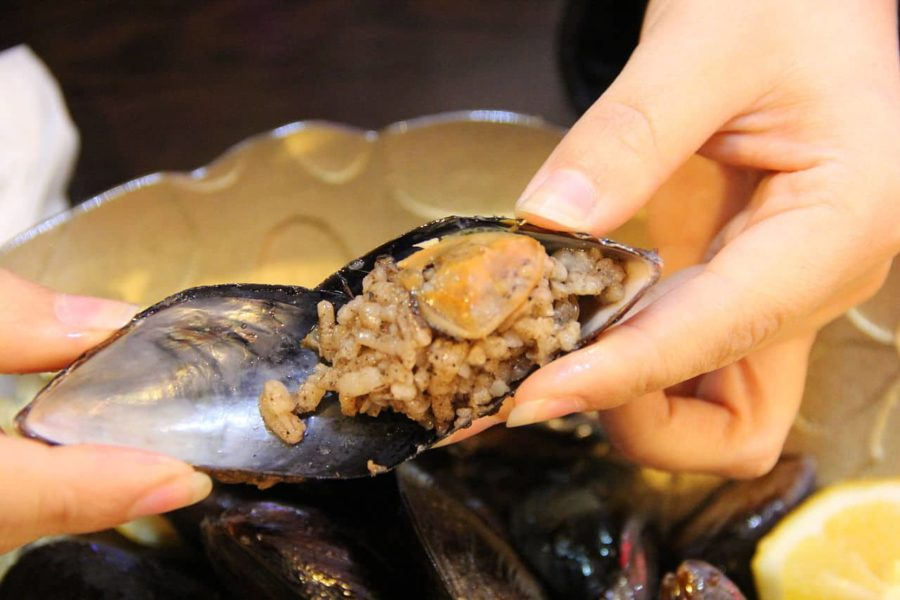 Turkish food, mussels and rice