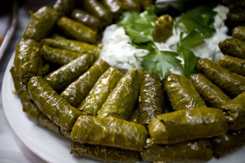 Turkish food stuffed vine leaves