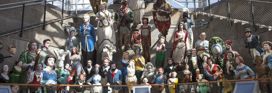 display of the figureheads from British ships onboard the Cutty Sark