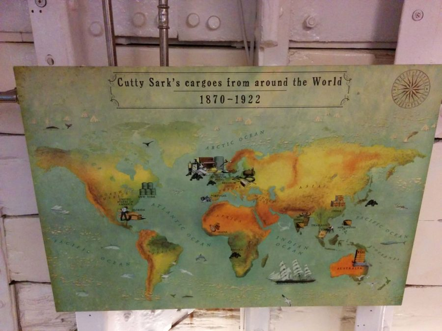 a map of the Cutty Sark's cargoes from around the world
