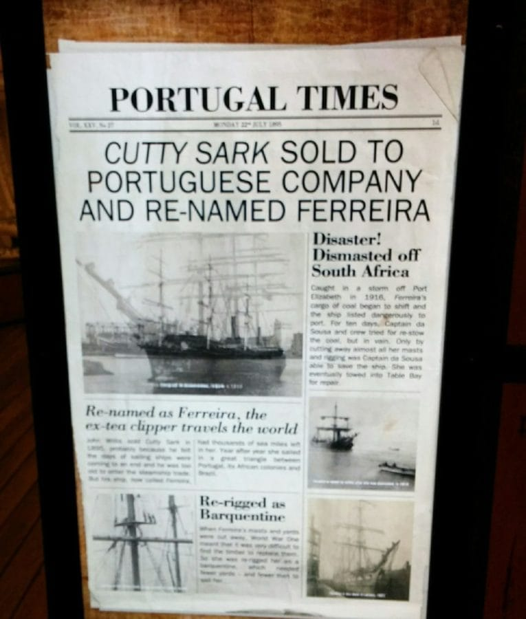 copy of Portuguese newspaper detailing the sale of the cutty Sark