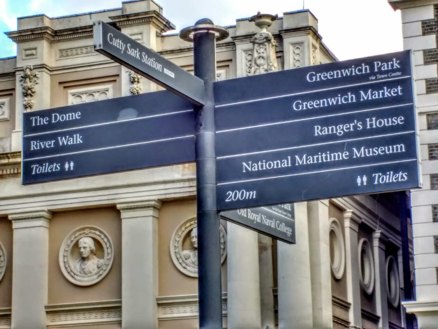 signposts to visit the Cutty Sark ship