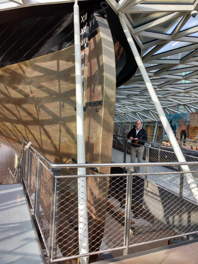 Cutty Sark on display and encased in glass on Greenwich pier