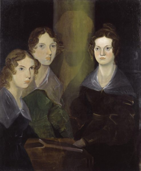 Bronte country the sisters as painted by their brother Branwell which has been restored showing the three girls with very solemn faces
