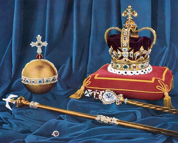 Crown Copyright Reserved the Crown Jewels inside the Tower of London