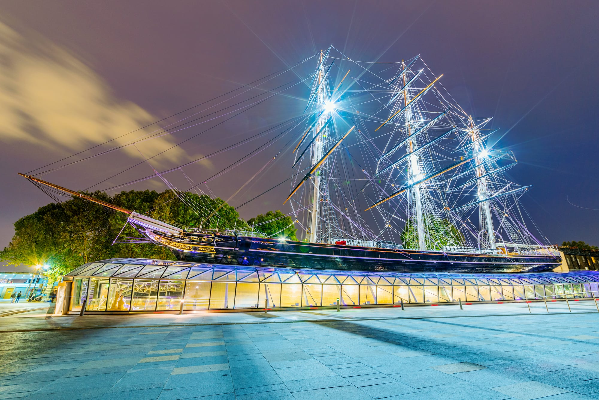 LONDON, UNITED KINGDOM - OCTOBER 07: This is a night view of the Cutty Sark ship a historic ship which is a landmark in Greenwich on October 07, 2017 in London