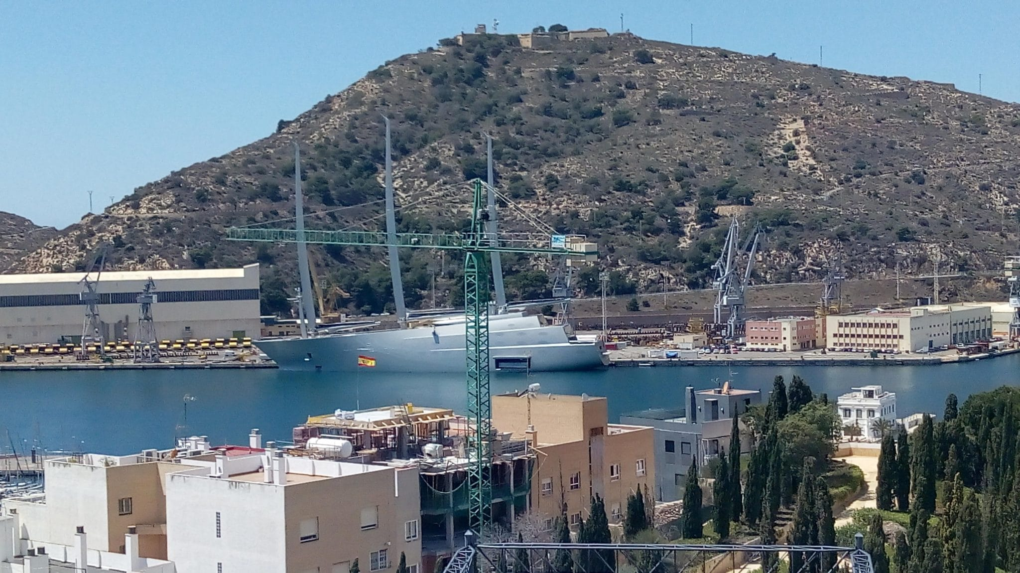 mega yacht in Cartegena harbour