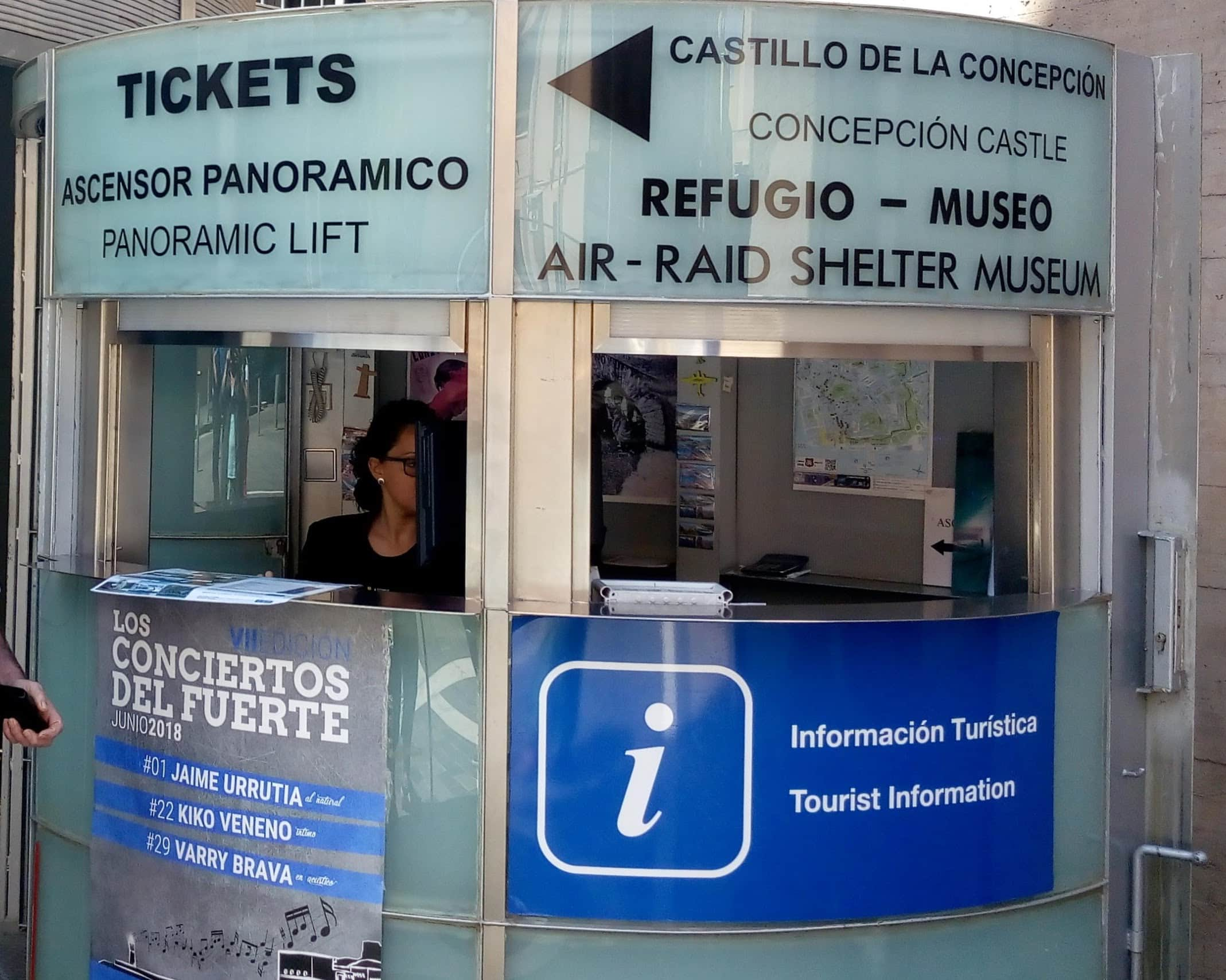 ticket booth for castillo and civil war refugio cartagena spain