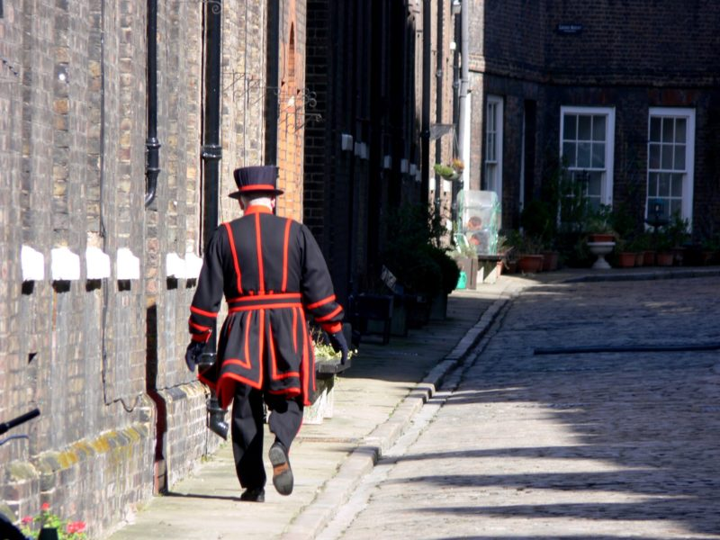 a Beefeater inside the Tower of London