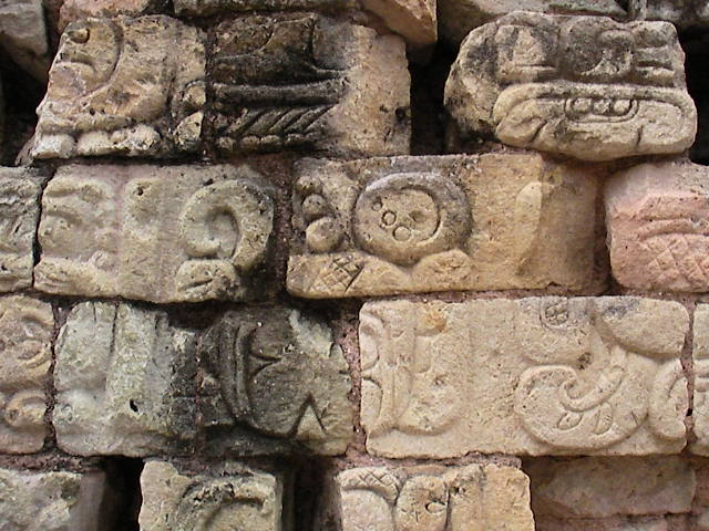 mayan art and graphics on stone in the museum in Campeche