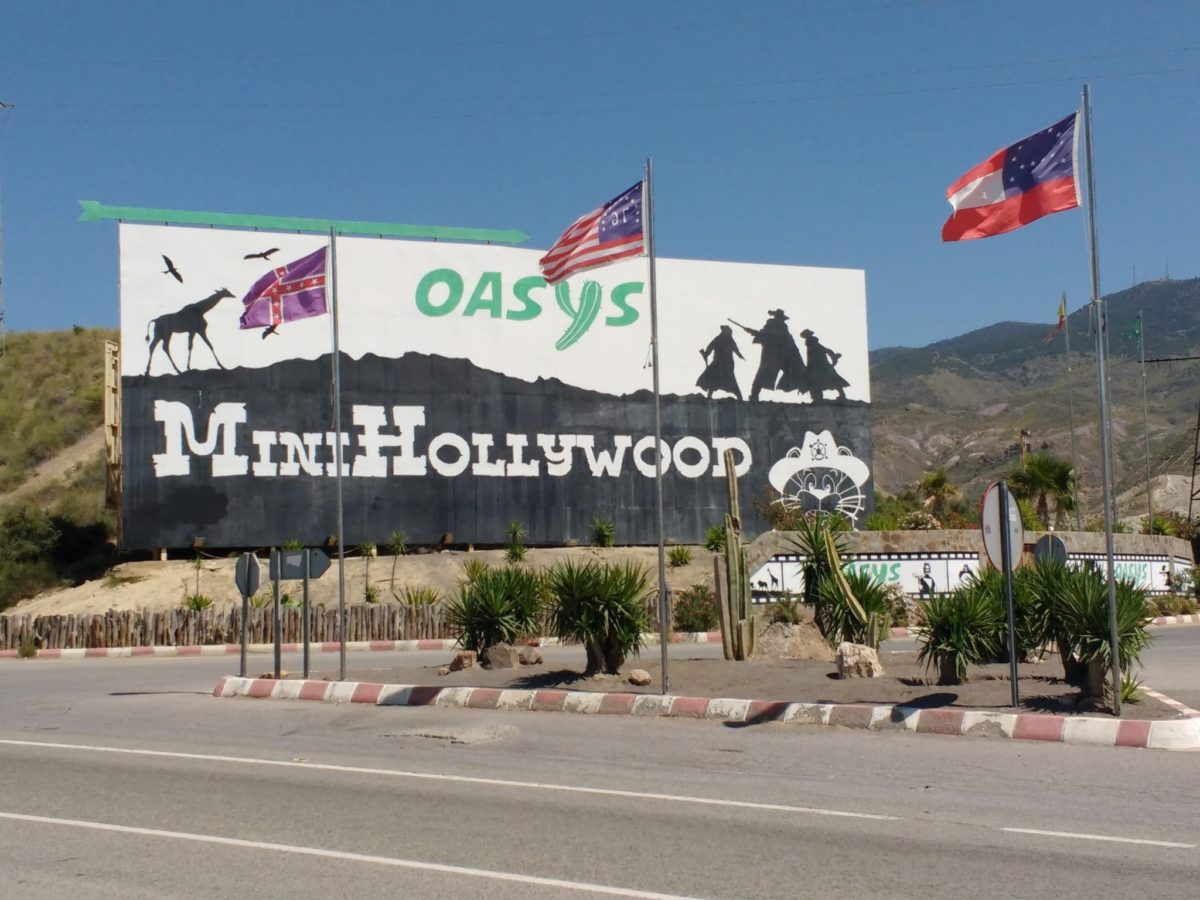 Mini Hollywood sign Oasys in the desert in Almeria Spain