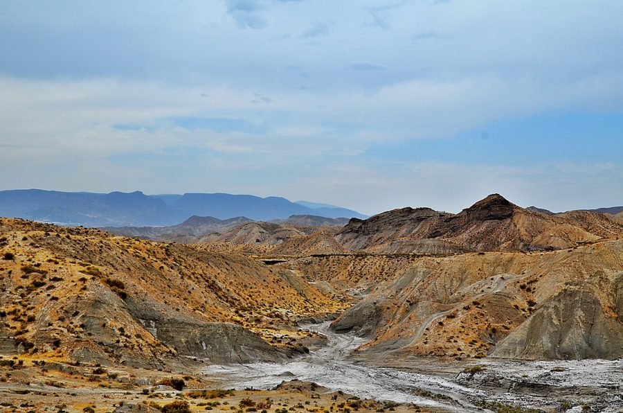 view of the Tabernas Desert with rocky hills and gulleys