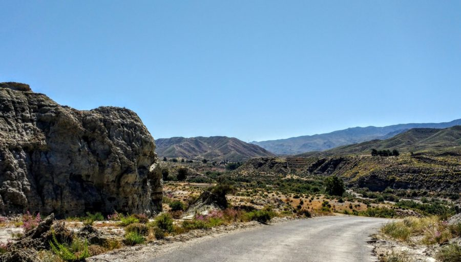 Tabernas desert road to Fort Bravo