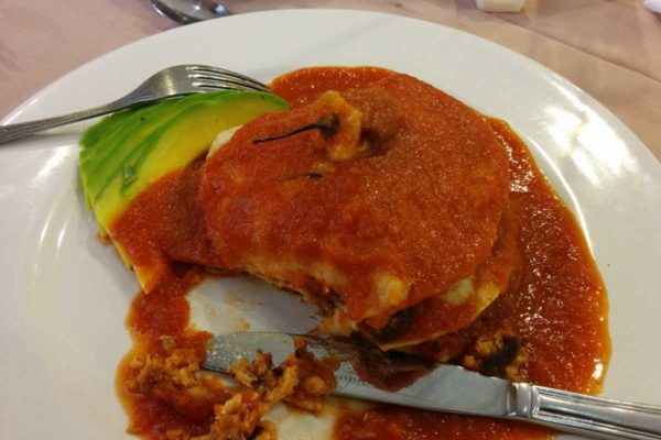 Campeche specials of Pan de Cazón which is not shark fish but a really stinky fish served on corn tortillas with a tomato sauce and avocado on the side.