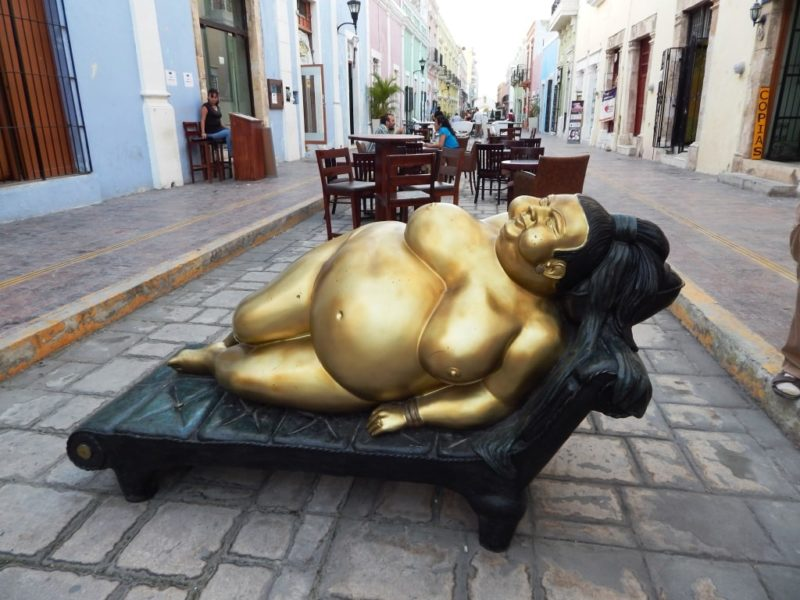 Botero style statue in centro on the pedestrian streets of Campeche