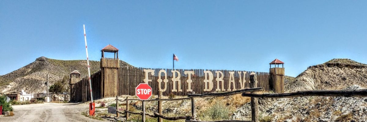 Panorama shot of the entrance to Fort Bravo in the Tabernas Desert Spain