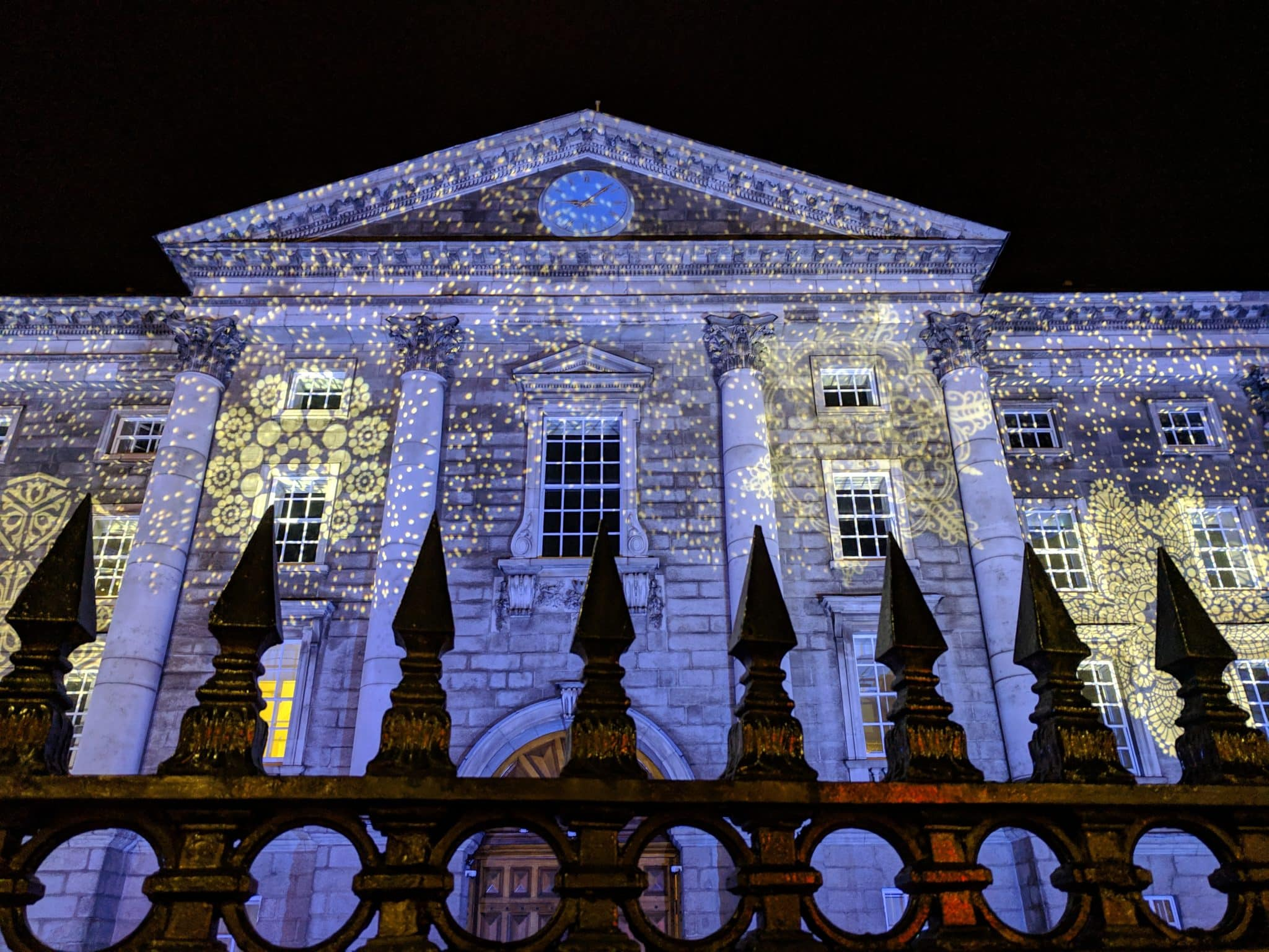 Trinity College lit up for Christmas in Dublin