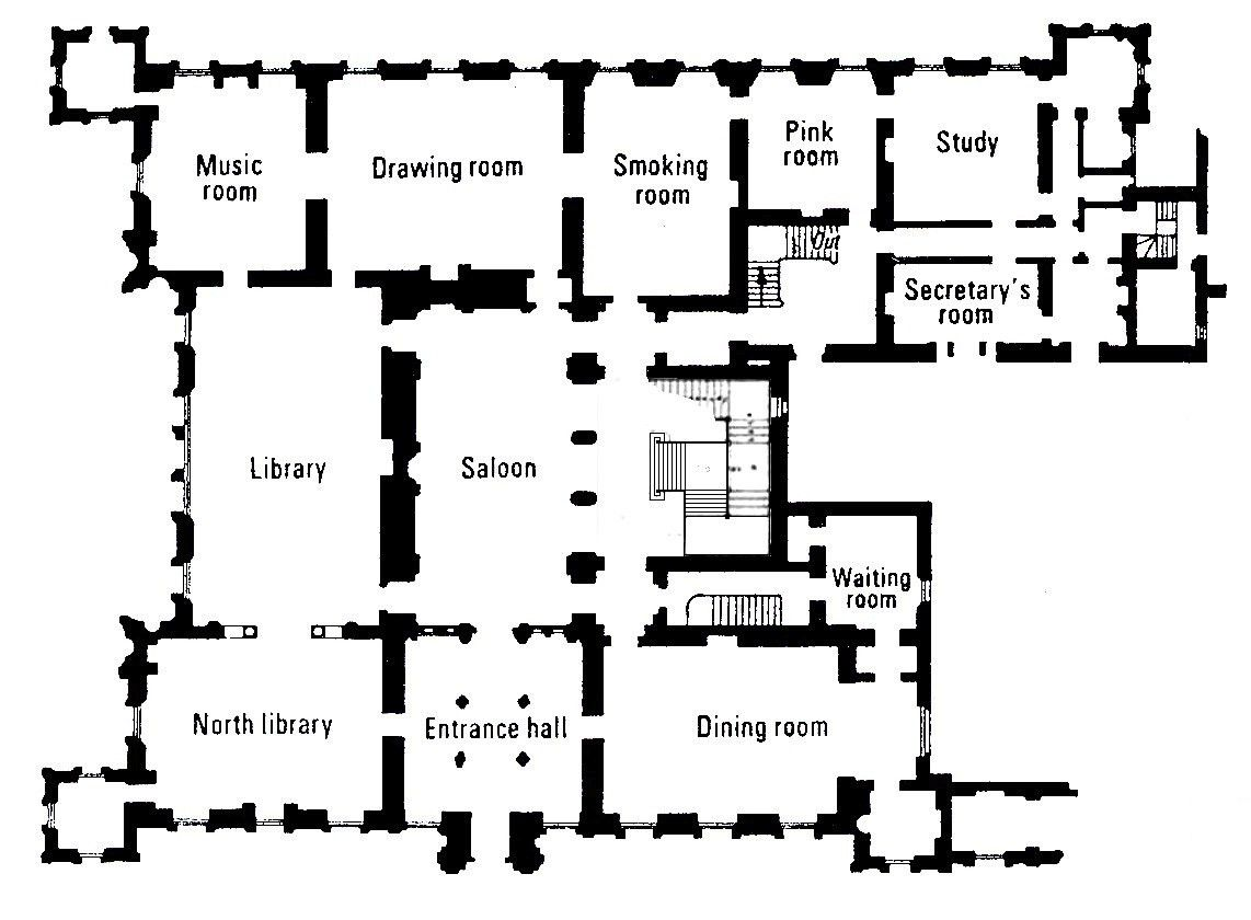 map of main floor of HIghclere Castle for Downton Abbey