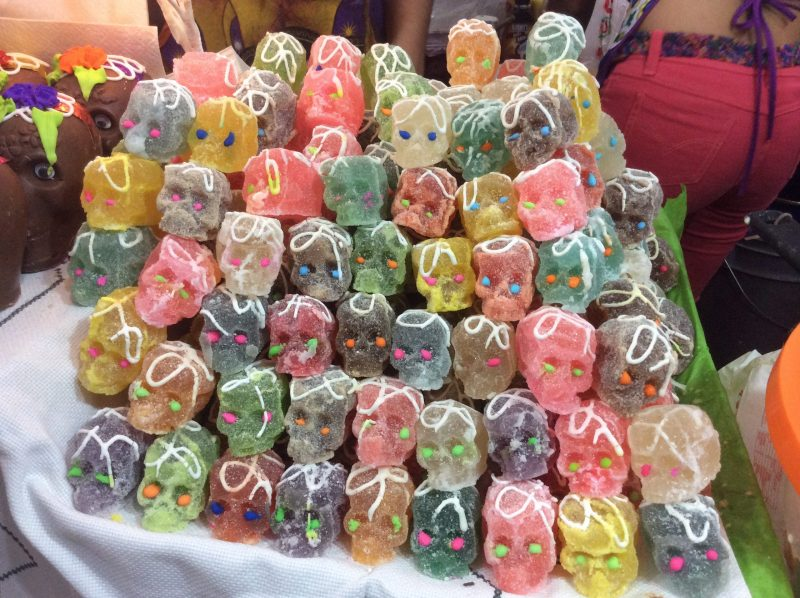 Sugar skulls on sale at a Mexican market