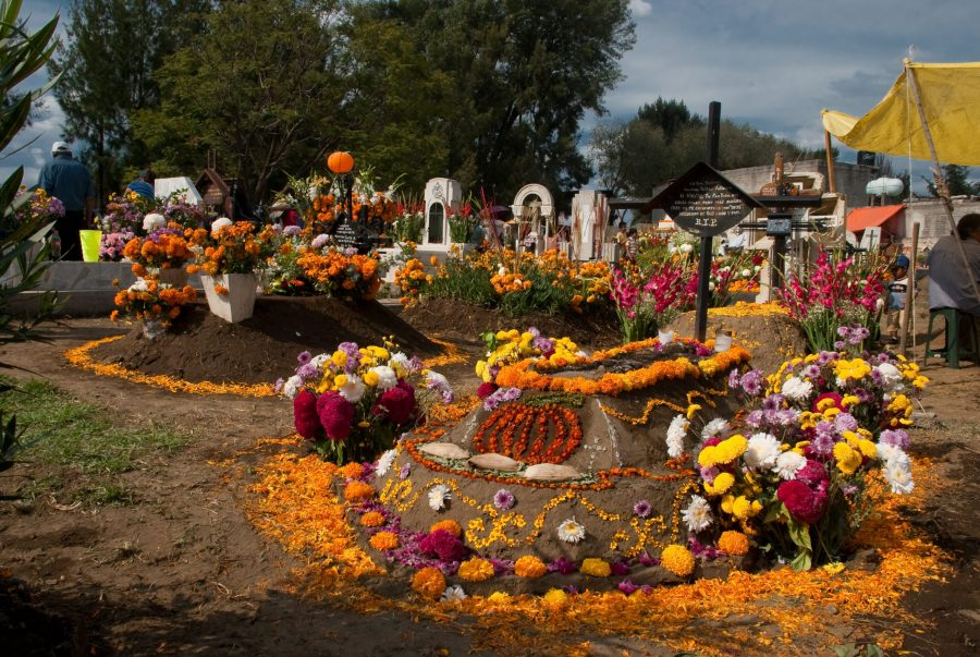 A Mexican cemetery decorated for the day of the dead